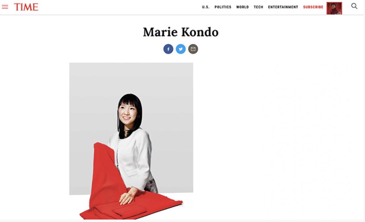 "TIME (タイム)""世界で最も影響力のある100人―近藤麻理恵"""